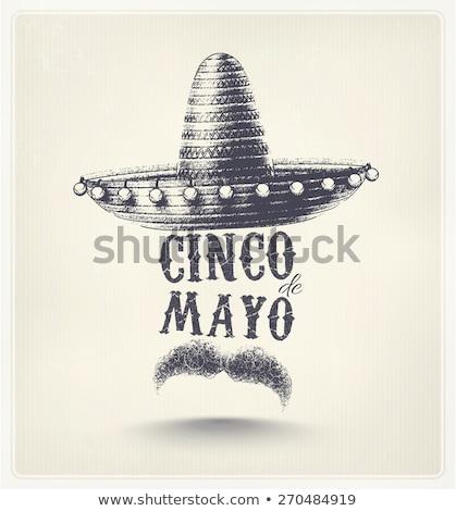 Mayonesa anunciante diseno bigote sombrero ilustración Foto stock © bluering