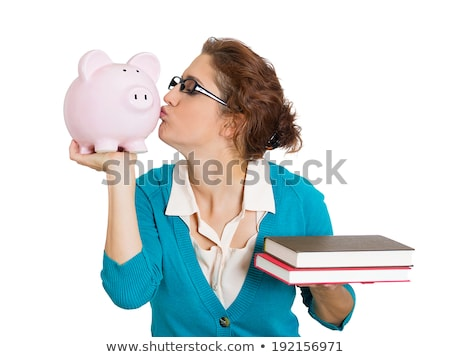женщины стороны Piggy Bank колледжей фонд текста Сток-фото © DenisMArt