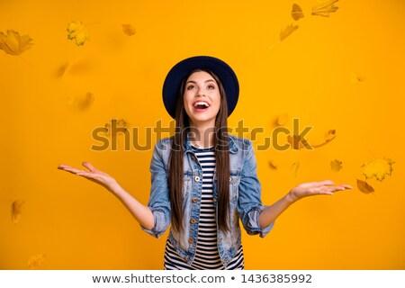 fiatal · nő · dob · levelek · levegő · ősz · park - stock fotó © is2