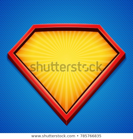 Superhero Logo Vector. Yellow, Red Shield. Emblem template. Flat Cartoon Comic Illustration Stock photo © pikepicture
