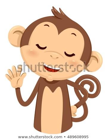 Mascotte scimmia cinque illustrazione cute dita Foto d'archivio © lenm