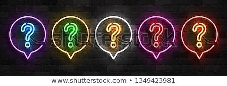 Soru işareti neon tuğla duvar 3D örnek Stok fotoğraf © stevanovicigor