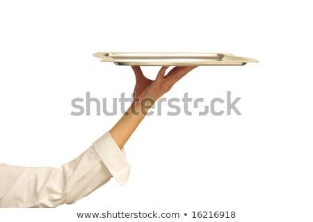 Serveuse permanent main hanches belle blanc noir Photo stock © derocz