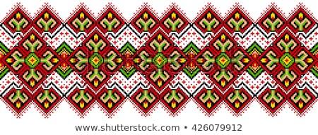 русский вышивка структур текстуры птица красный Сток-фото © FoxysGraphic