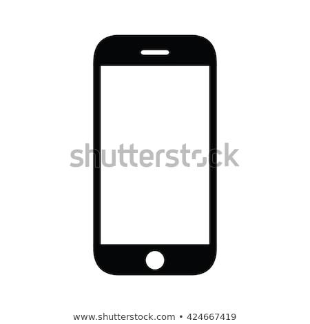 Mobiltelefon vektor ikon terv szín feketefehér Stock fotó © rizwanali3d
