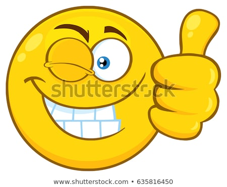 Smiling Yellow Cartoon Emoji Face Character With Wink Expression Giving A Thumb Up Stock photo © hittoon