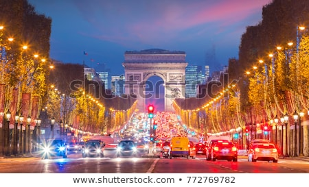 Триумфальная · арка · Париж · Франция · ночь · ретро · улице - Сток-фото © givaga