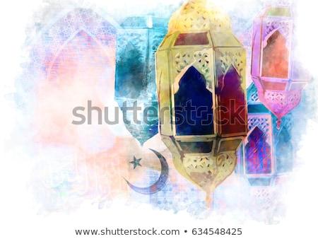 beautiful eid mubarak greeting with hanging lamps Stock photo © SArts