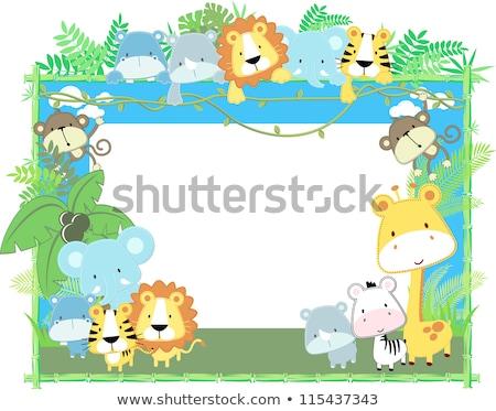サファリ動物 竹 フレーム 実例 幸せ 背景 ストックフォト © bluering