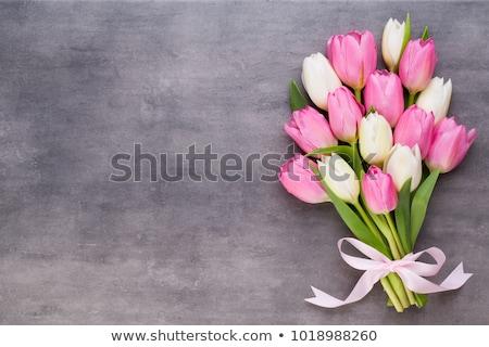 Paskalya bahar lale çiçekler beyaz vazo Stok fotoğraf © Melnyk