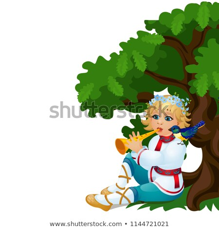 Boy in a traditional Russian costume playing the flute isolated on white background. Vector cartoon  Stock photo © Lady-Luck