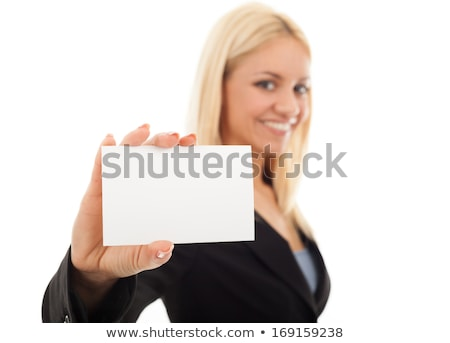 Hands holding blank long business card stock photo © Dinga