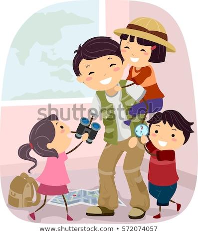 Család apa felfedező játék illusztráció boldogan Stock fotó © lenm