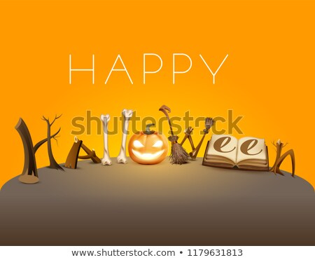 happy halloween text greeting card pumpkin lantern magic book and broom holiday accessory stock photo © orensila