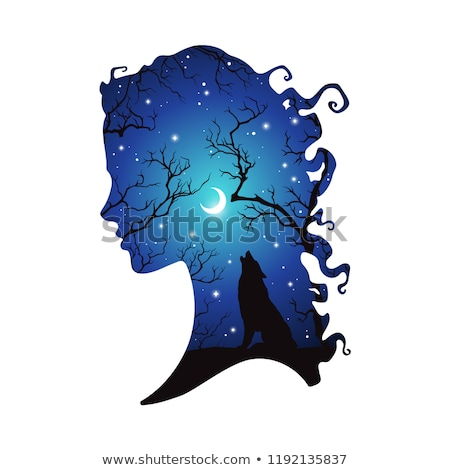 Silhouette Girl Wiccan Stock photo © lenm