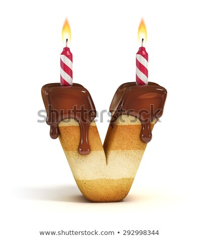 Stock fotó: Letter V Birthday Font Letter And Candle Anniversary Alphabet