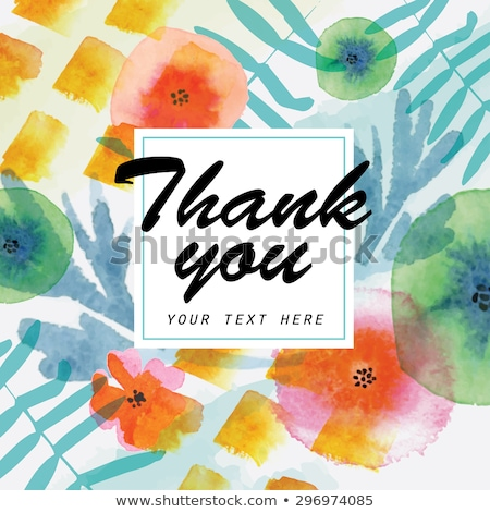 beautiful watercolor floral card with message thank you stock photo © balasoiu