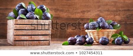 Vers pruim tabel boven hoop waterdruppels Stockfoto © dash