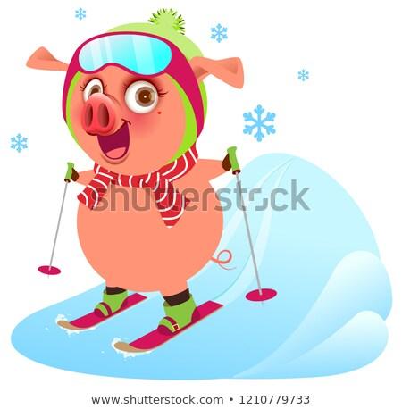 розовый смешные веселый свинья символ год Сток-фото © orensila