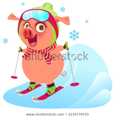 Pink funny merry pig symbol 2019 year skiing ski Stock photo © orensila
