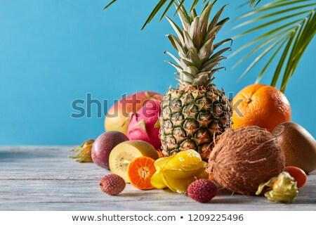 Csoport egzotikus trópusi gyümölcsök mangó sárkány Stock fotó © artjazz