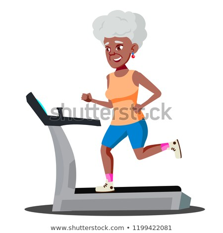 Modern Old Woman Doing Cardio Exercises On A Treadmill Vector. Isolated Illustration Stock photo © pikepicture