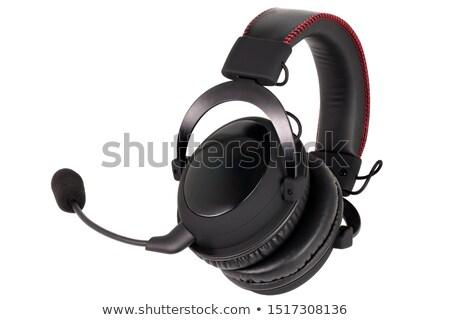 ビッグ ワイヤレス ヘッドホン マイク 黒 白 ストックフォト © magraphics