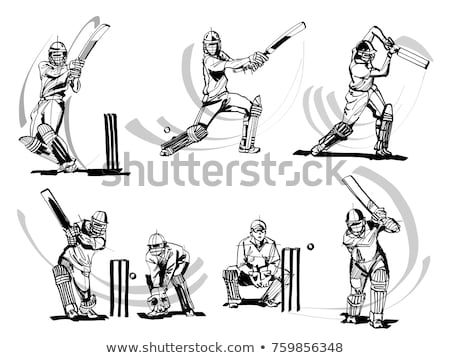 croquis · cricket · joueur · uniforme · tournoi · blanche - photo stock © Vicasso