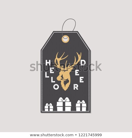 merry christmas and new year gift tag holiday card concept with xmas symbols   reindeer hello deer stock photo © jeksongraphics
