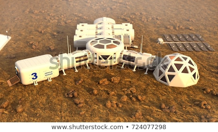 illustration · cartoon · vaisseau · spatial · atterrissage · rouge · désert - photo stock © jossdiim