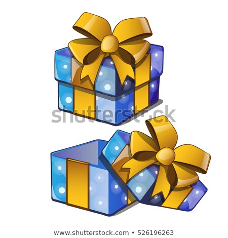 gift box with a golden bowknot with wrapped paper blue color isolated on a white background vector stock photo © lady-luck