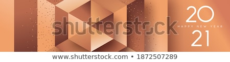 New Year low poly copper sign greeting card Stock photo © cienpies