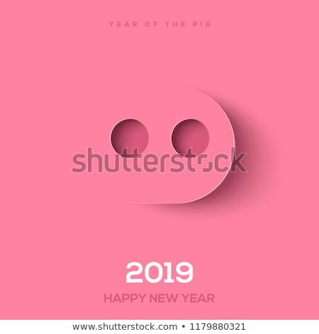Китайский · Новый · год · карт · плакат · год · свинья · животного - Сток-фото © -talex-