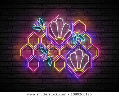 Vintage Signboard with Flower in Honeycomb Stock photo © lissantee