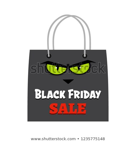 black friday shopping bag with cat eyes and text stock photo © hittoon