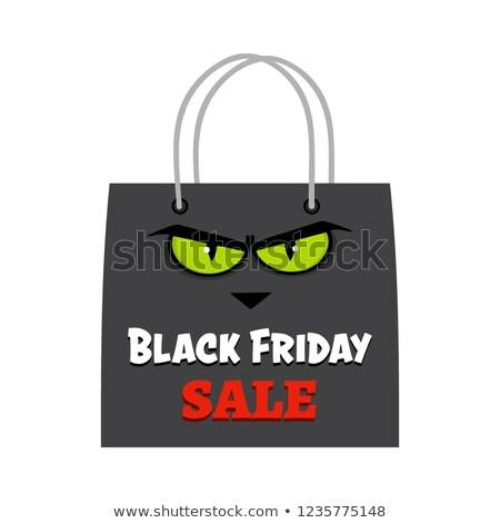 Black friday bolsa de la compra gato ojos texto diseno Foto stock © hittoon