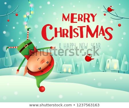 Vrolijk christmas weinig elf opknoping ondersteboven Stockfoto © ori-artiste
