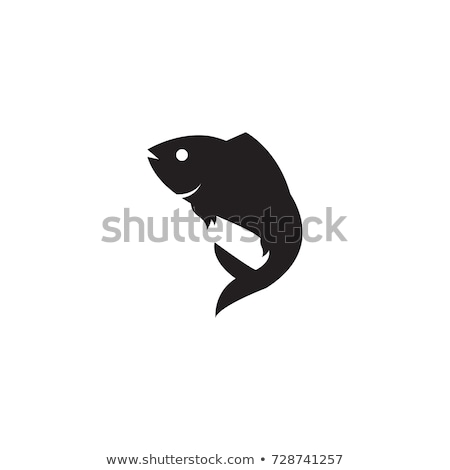 Aquarium fish silhouette isolated on white icons Stock photo © robuart