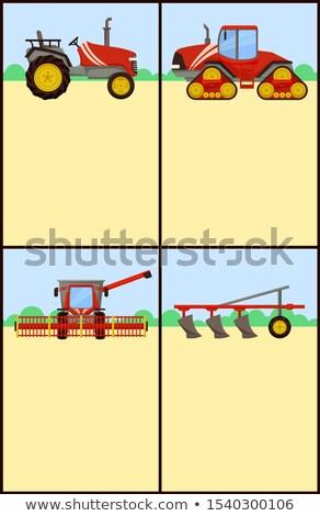 Stockfoto: Trekker · ingesteld · posters · tekst · monster · agrarisch