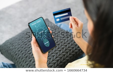 Internet banking password for purchase, smartphone, credit card. Stock photo © vinnstock