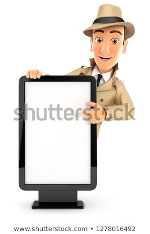 3D detective wijzend billboard illustratie geïsoleerd Stockfoto © 3dmask