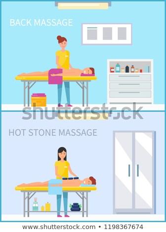Back and Hot Stone Method Massage Set Vector Stock photo © robuart