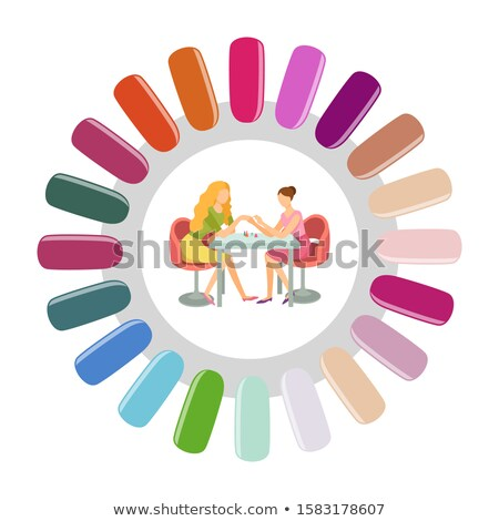 Manicure Round Nails Pallet Manicurist and Client Stock photo © robuart