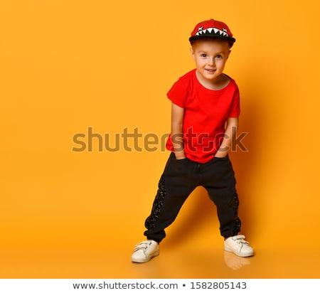 sorridere · ragazzo · guardando · mondo · bianco · mano - foto d'archivio © sapegina
