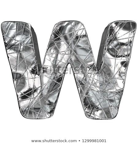 Grunge alluminio carattere lettera w 3D rendering 3d Foto d'archivio © djmilic