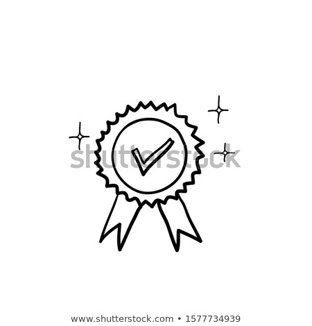 Medal with ribbon hand drawn outline doodle icon. Stock photo © RAStudio