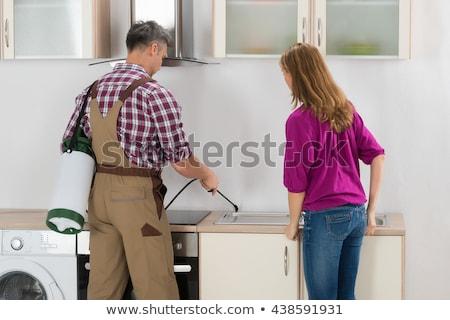 mujer · trabajador · cocina · antorcha · hombre - foto stock © AndreyPopov