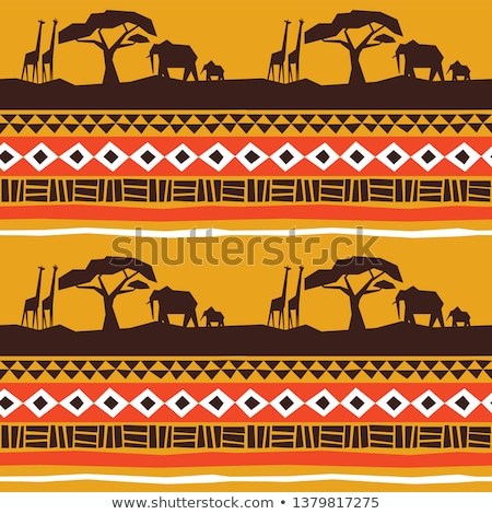 african art seamless pattern with giraffe animal stock photo © cienpies
