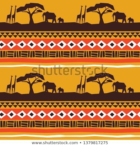 Stock fotó: Afrikai · művészet · végtelen · minta · zsiráf · állat · természet