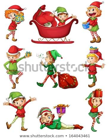 Christmas elf Rood sok illustratie gelukkig Stockfoto © colematt